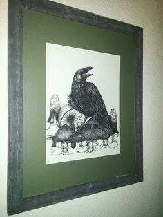 Raven and Mushrooms, framed, 16x20.