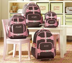 I love the Mackenzie Chocolate Dot Backpacks on potterybarnkids.com Gabriella is all ready to officially start school in September :-) New backpack & lunch bag, hee hee!!