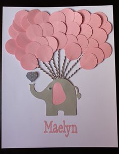 Pink Elephant Baby Shower Sign in Book guest by FavorsAndMemories                           IDEA: Change color for yellow/gray/blue