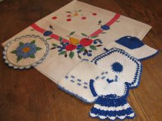 Pineapple House Antiques ~ Vintage Assorted Color Fruit Tablecloth with Vintage Blue and White Crocheted Pot Holders