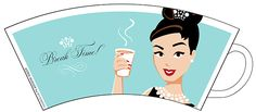Audrey Hepburn inspired mug illustrated by Astrid Mueller