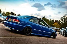 Honda Civic VI coupe blue red white low slow good job nice project my love