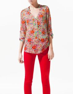 PRINTED BLOUSE WITH GOLDEN BUTTONS - Shirts - Woman - ZARA Romania