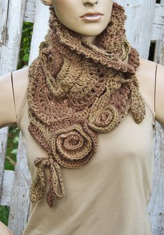 Crochet Scarf - Capelet. Unique scarf made Freeform method. Warm and pleasant to the touch. Beautiful unique design.  Color: shadows brown  Size: One size fits all  about 70/34cm 27,56/13,39  materials used: 30%wool, 70%acrylic  Care instruction: hand wash using warm water.  Because of different monitors and screen resolutions, colors may look different on the screen than really.