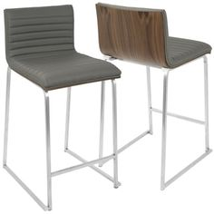 LumiSource Mara Stainless Steel Contemporary 26-inch Counter Stools (Set of 2) | Overstock.com Shopping - The Best Deals on Bar Stools