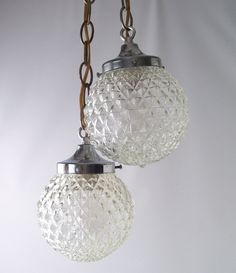 vintage retro hanging lamp ceiling fixture mid century modern chrome clear glass globes chandelier home decor decorative. $125.00, via Etsy.