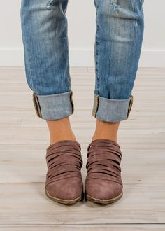 RubyClaire Boutique - The Sara Booties, $52.00 (https://www.rubyclaireboutique.com/the-sara-booties/) Leather Booties | Strappy Booties | Mauve Booties