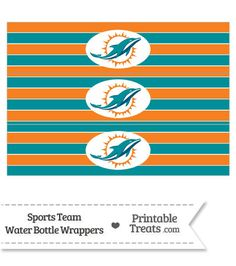 Miami Dolphins Water Bottle Wrappers From PrintableTreats