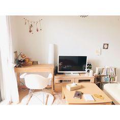 maiさんの、賃貸,北欧,カフェ風,一人暮らし,マスキングテープ,100均,雑貨,植物,ナチュラル,本,無印良品,部屋全体,のお部屋写真