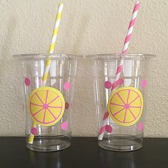 Pink lemonade party cups by DivineGlitters on Etsy