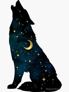 Wolf Silhouette with Stars and Moon Sticker by MagneticMamaYou can find Stars and more on our website.Wolf Silhouette with Stars and Moon Sticker by MagneticMama Wolf Silhouette, Silhouette Painting, Silhouette Drawings, Fantasy Wolf, Fantasy Art, Cute Drawings, Cute Animal Drawings, Cool Wolf Drawings, Wolf Artwork