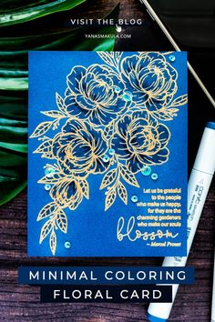 "HA/GKD flower stamp, gold embossed on blue, Tonic Studios Shimmer Pen: ""colored""leaves and flowers with shimmer, Added some details with copies (listed). Flower Stamp, Flower Cards, Hero Arts Cards, Copic Sketch Markers, Copics, Clear Stamps, Making Ideas, Cardmaking, Floral Card"