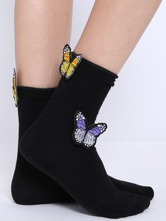 Black Butterfly Applique Socks
