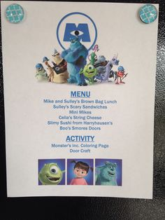 Monsters, Inc. Menu - Monsters, Inc. Movie Night - Disney Movie Night - Family Movie Night - Mini Mikes are green grapes, Harryhausen's Sushi is candy sushi and Boo's Smores Doors are graham crackers with frosting and Hershey bar squares