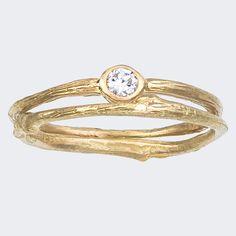 Simple Engagement Ring and matching Band Set  -  Round Bezel Set  -  White Diamond   -  Yellow Gold  -  Good Buy. $890.00, via Etsy.