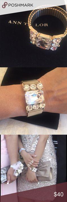 Ann Taylor bracelet Only worn once at prom.  Chunky gold and sparkling cz. Ann Taylor Jewelry Bracelets