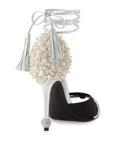 beafa08300e1 Roger Vivier - Lasso Pearly Ankle-Wrap Sandal Silver Sandals