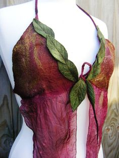 Love the leaf detail on this Leafy Nuno Felt Faerie Floaty Halter Top l by folkowl