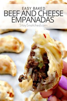 Easy Baked Beef and Cheese Empanadas Recipe for the perfect skinny, healthy appetizer loaded with ground beef and gooey mozzarella and pepperjack cheese. This recipe is quick to make using Goya empanadas wrappers. This Mexican and Puerto Rican dish is per Goya Empanadas Recipe, Baked Empanadas, Easy Empanada Recipe, Chicken Empanadas Recipe Easy, Empanada Dough, Quick And Easy Appetizers, Healthy Appetizers, Appetizer Recipes, Dinner Recipes