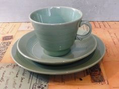 Wood's Ware 'Beryl' cups a set of six teacups c WW2 era by KittysVintageVault