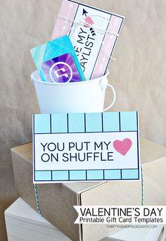 Valentine's Gift Idea - printable iTunes gift card template www.thirtyhandmadedays.com