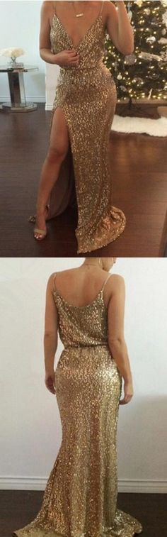 Prom Dress Princess, Leg Split Gold Sequins V Neck Sleeveless Sweep Train Prom Dress Shop ball gown prom dresses and gowns and become a princess on prom night. prom ball gowns in every size, from juniors to plus size. Pageant Dresses For Teens, 2 Piece Homecoming Dresses, Split Prom Dresses, Elegant Bridesmaid Dresses, V Neck Prom Dresses, Tulle Prom Dress, Evening Dresses, Party Dress, Prom Dresses
