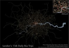 A map of the frequency of bus trips in London.
