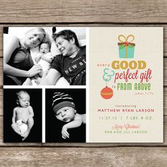 Like the verse and option for multiple pictures.  Perfect Gift - DIGITAL Custom Christmas Holiday Birth Announcement Photo Card. $15.00, via Etsy.