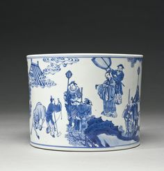 A BLUE AND WHITE BRUSHPOT (BITONG), QING DYNASTY, KANGXI PERIOD. Sotheby's