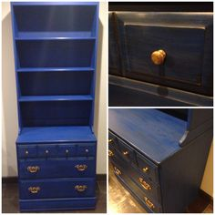 Sold - Chalk painted in admiral blue and finished with light then dark wax. Vintage chest of drawers and matching bookcase/hutch, original brass hardware. Chalk paint admiral blue, navy blue, Napoleonic blue.