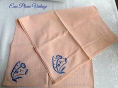 Peach Nubby Linen Bridge Table Cloth Blue by EauPleineVintage