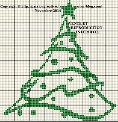 Grille gratuite point de croix : Sapin de Noel monochrome vert - Le blog de Isabelle