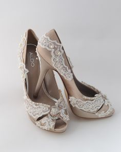 Wedding Shoes Custom Order Lace Crystals Swarovski Feather Pearls Over 100 Colors. $210.00, via Etsy.