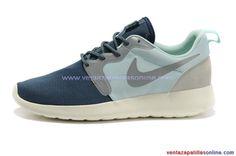 2014 Zapatillas Running Nike Roshe Run Dyn FW QS Hombre Azul Oscuro Verde
