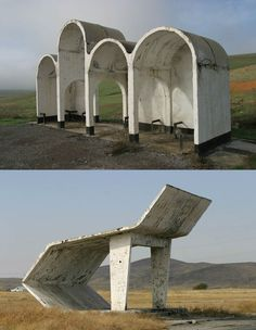 Bus stops in Kazakhstan - photo by Chirstopher Herwig. #sovietarchitecture #60sConcrete