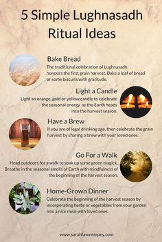Hey friends! Here are 5 Simple Lughnasadh Ritual Ideas For Lammas in a fun Infographic :) Many Lughnasadh Blessings!