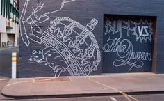 Buff Diss is a Melbourne based artist whose works are made free-hand with masking tape.