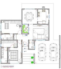 Casa capeira Modern House Floor Plans, Modern Bungalow House, Home Design Floor Plans, Duplex House Plans, Bungalow House Plans, Contemporary House Plans, Dream House Plans, Architectural House Plans, Architectural Models