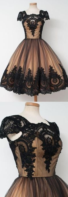 On Sale Engrossing Applique Homecoming Dresses, Black Ball Gown Homecoming Dresses, Short Black Homecoming Dresses, Vintage Black Applique Cap Sleeves Homecoming Dresses,Tulle Pretty Cheap Short Prom Dresses Cheap Short Prom Dresses, Pretty Prom Dresses, Lace Homecoming Dresses, Black Prom Dresses, A Line Prom Dresses, Trendy Dresses, Dress Prom, Black Gowns, Dresses Dresses