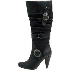 Wild Diva Pieta-01 Black Knee High Leather Boots