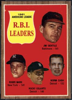 1962 Topps AL RBI Leaders: Jim Gentile, Roger Maris, Rocky Colavito, Norm Cash, Baltimore Orioles,  New York Yankees, Detroit Tigers, Baseball Cards That Never Were.