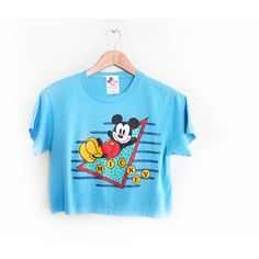 vintage t shirt Mickey Mouse crop top thin 1990s blue Mickey Mouse... ($44) ❤ liked on Polyvore featuring tops, t-shirts, blue t shirt, vintage crop top, collar t shirt, vintage mickey mouse t shirt and graphic t shirts