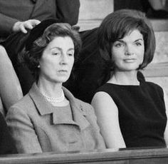"*JANET AUCHINCLOSS (Jackie's mother) ~  (left) was determined to get Jackie's pink suit out of the White House quickly. She instructed Jackie's personal assistant ""Provi"" to box it up and send it to her house as soon as possible (without Jackie's knowledge)."