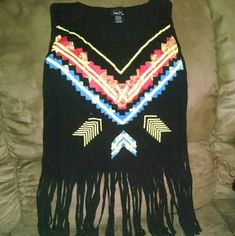 ↪tribal fringe top↩ This top is adorable: I am  just to specific oh how I like cloths to fit me. I try this several times but never end up wearing it, so I think is time to let it go to somebody that can give it a better use ... Rue 21 Tops Blouses