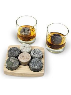 """Granite Whiskey Chilling Stones """"On the Rocks"""" with 2 Free 10-Ounce Tumblers and Presentation/Storage Tray by Sea Stones ❤ Sea Stones"""