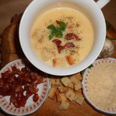 Supa crema de usturoi Cheeseburger Chowder, Hummus, Supe, Diet, Cooking, Ethnic Recipes, Food, Cucina, Kochen