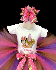 Girls Baby Minnie Mouse Glitter Gold Cupcake Birthday Tutu Outfit
