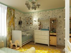Фото Детская комната для младенца-мальчика в Екатеринбурге - интерьеры, зd визуализация, квартира, дом, детская комната, французский, прованс, 10 - 20 м2, интерьер