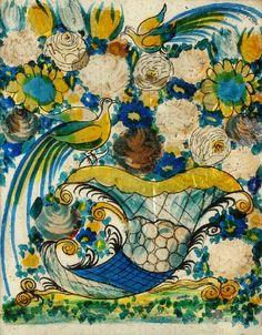"windypoplarsroom: "" Dora Carrington ""Birds above a Cornucopia of Flowers"" """