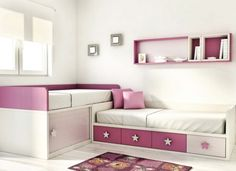 I like the two beds and storage idea for a two twin bedroom. different coloring Girl Bedroom Designs, Girls Bedroom, Bedroom Decor, Sister Room, Kids Bunk Beds, Shared Bedrooms, Girl Room, Toddler Bed, Furniture